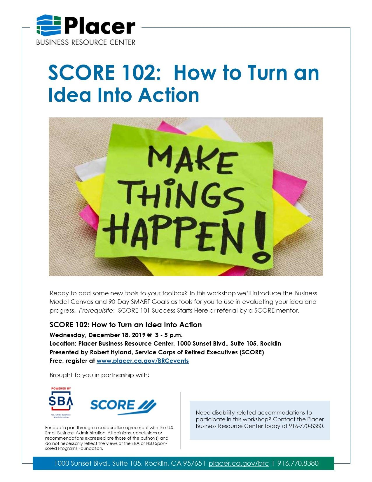 SCORE 102 Turn Idea to Action (12-18)