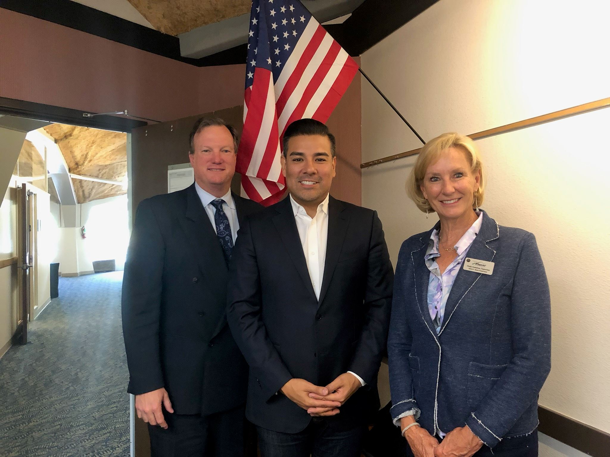 Insurance Commissioner Ricardo Lara with Chairman Kirk Uhler and Supervisor Cindy Gustafson